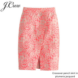 J.Crew - Crossover Pencil Skirt Plumeria Jacquard